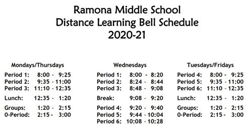 RMS Bell Schedule - Distance Learning 2020-21